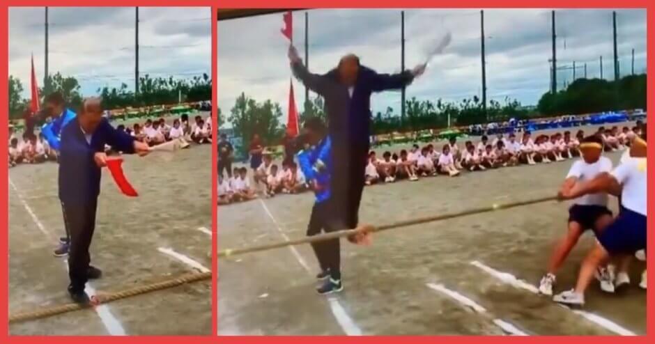 【腹筋崩壊】校長先生が綱引き開始と同時に空へ羽ばたいてしまうwwこれは何回でも見れるわww